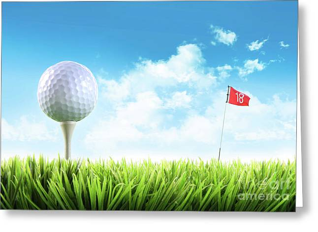 Active Greeting Cards - Golf ball with tee in the grass  Greeting Card by Sandra Cunningham