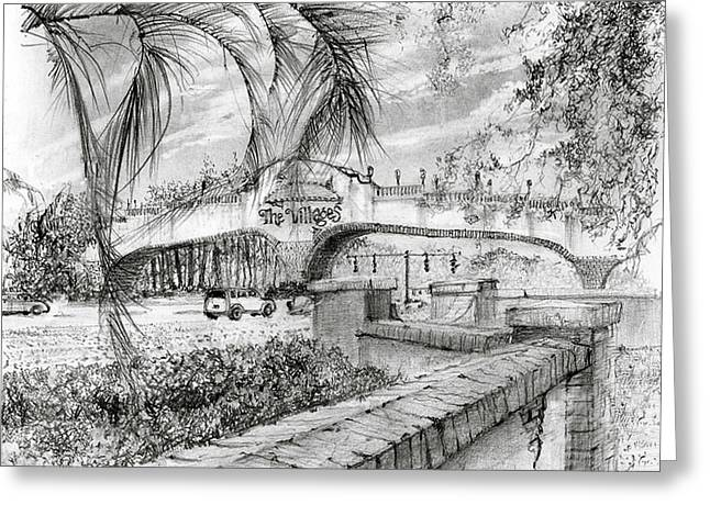 Florida Bridge Drawings Greeting Cards - Golf Cart Bridge Greeting Card by Jim Hubbard