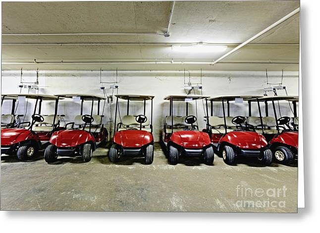 Basement Photographs Greeting Cards - Golf Cart Parking Garage Greeting Card by Skip Nall