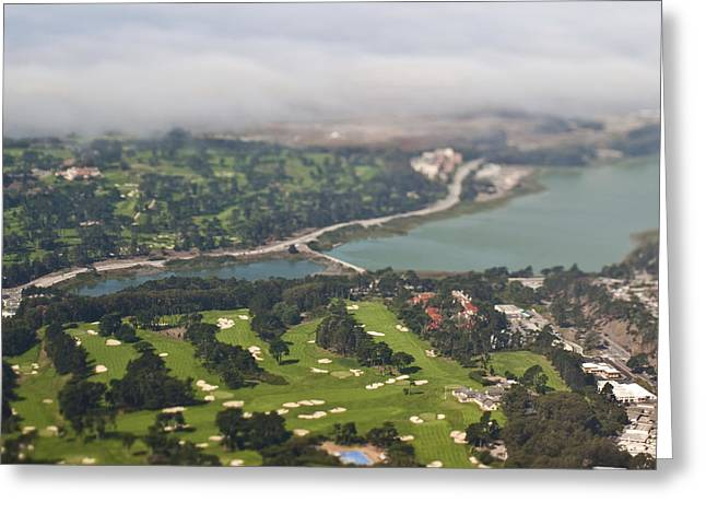 Tilt Shift Greeting Cards - Golf Course Greeting Card by Eddy Joaquim