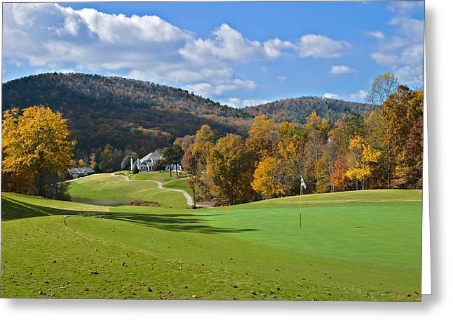 Susan Leggett Greeting Cards - Golf Course in Autumn Greeting Card by Susan Leggett