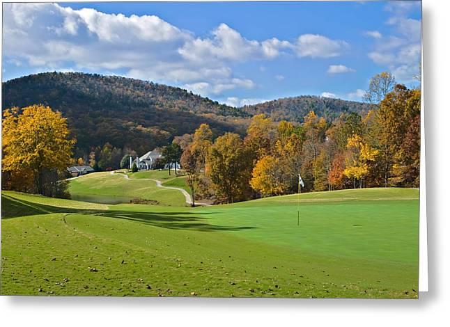 Susan Leggett Greeting Cards - Golf Course in Autumn Greeting Card by Susan Leggett