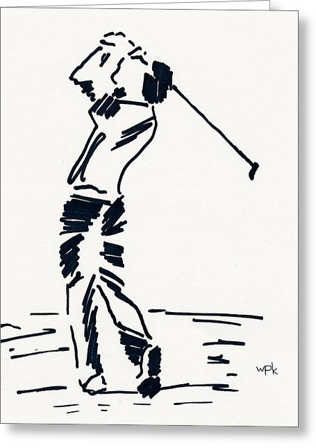 Player Drawings Greeting Cards - Golf I Greeting Card by Winifred Kumpf