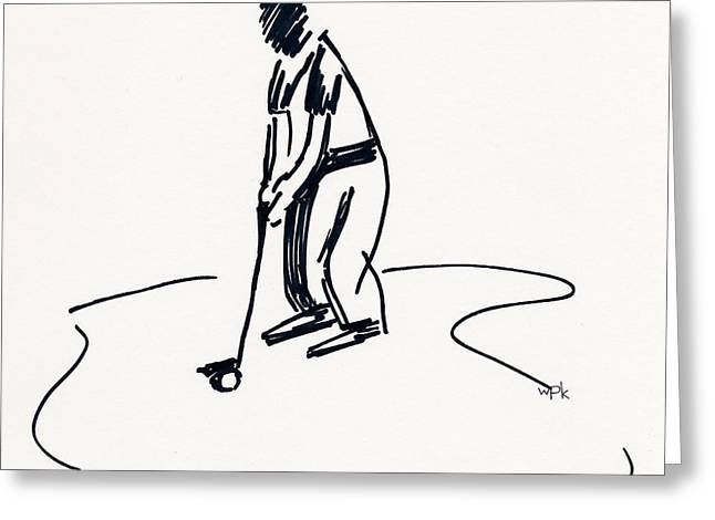 Us Open Golf Drawings Greeting Cards - Golf IV Greeting Card by Winifred Kumpf