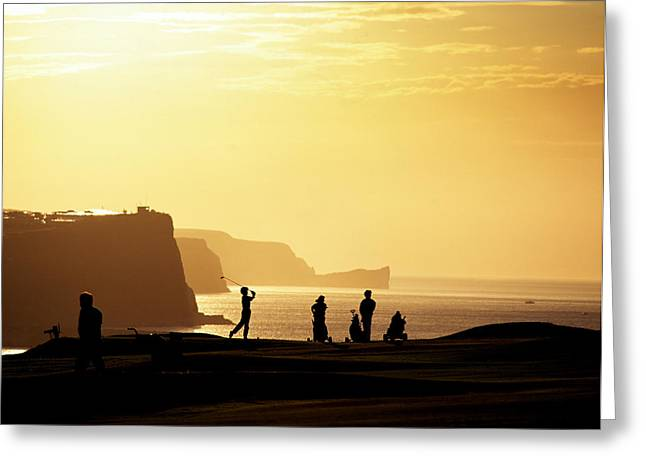 Ballycastle Greeting Cards - Golf Players Silhouetted In Front Greeting Card by Chris Hill