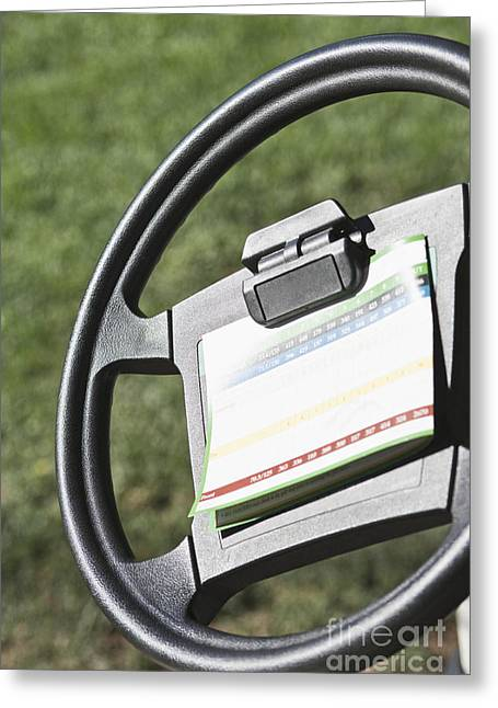 Cart Driving Greeting Cards - Golf Scoring Card on Golf Cart Steering Wheel Greeting Card by Jetta Productions, Inc