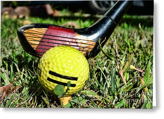 Putt Greeting Cards - Golf - tee time with a 3 Iron Greeting Card by Paul Ward