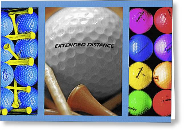 Best Sports Mixed Media Greeting Cards - Golf Themed Triptych Greeting Card by Steve Ohlsen