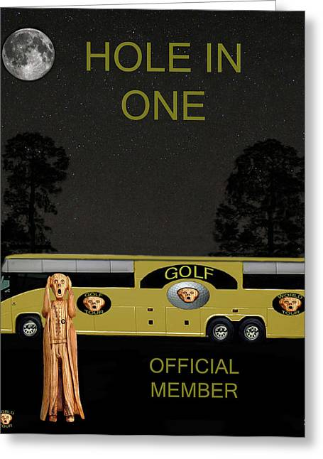Official Member Mixed Media Greeting Cards - Golf World Tour Scream Tour Bus Hole In One Greeting Card by Eric Kempson