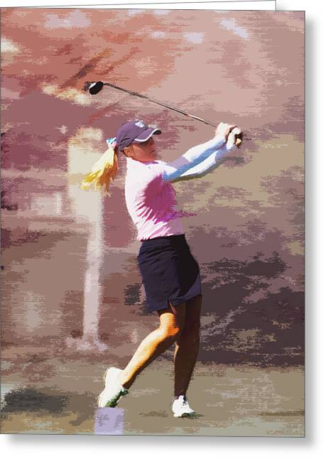 Girl Sports Greeting Cards - Golfer Greeting Card by David Haskett