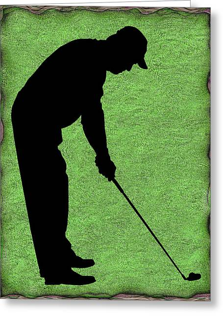 Susan Leggett Greeting Cards - Golfer on Green Greeting Card by Susan Leggett