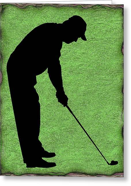 Susan Leggett Digital Greeting Cards - Golfer on Green Greeting Card by Susan Leggett