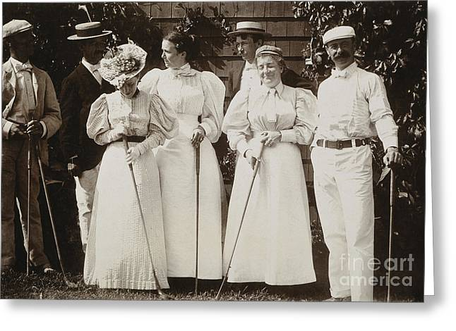 Sportswoman Greeting Cards - GOLFING PARTY, c1895 Greeting Card by Granger