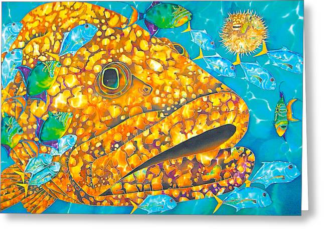 Grouper Print On Canvas Greeting Cards - Goliath Greeting Card by Daniel Jean-Baptiste