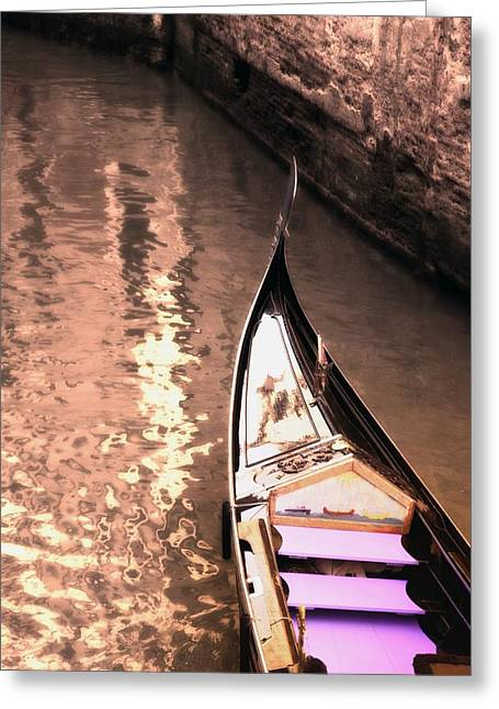 Destiny Greeting Cards - Gondola In The Canal Venice Italy Greeting Card by Carson Ganci