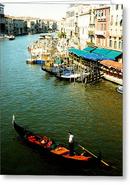 Venetian Balcony Greeting Cards - Gondola in Venice Italy Greeting Card by Michelle Calkins