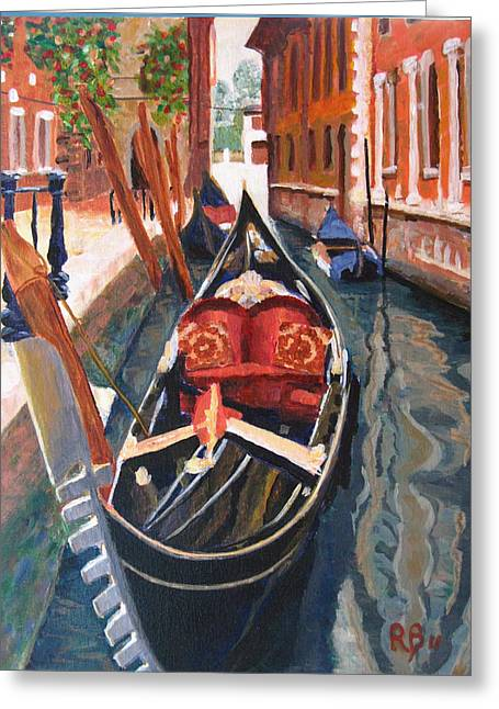 Robie Benve Greeting Cards - Gondola Veneziana Greeting Card by Robie Benve