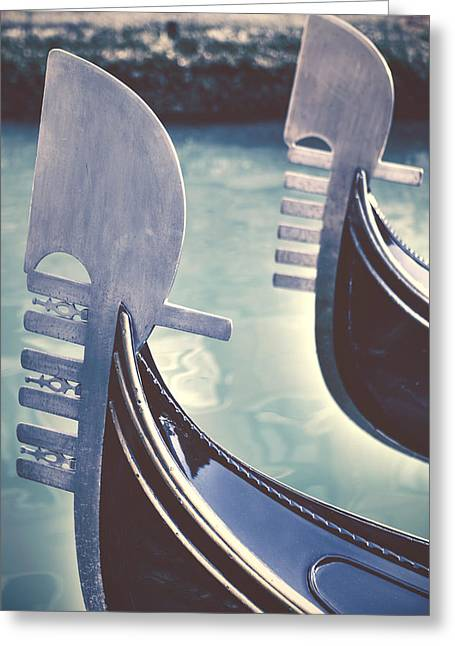 Boat Photographs Greeting Cards - gondolas - Venice Greeting Card by Joana Kruse