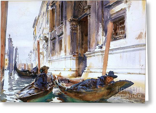 Gondoliers  Siesta Greeting Card by Pg Reproductions