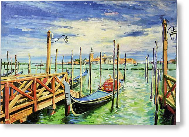 World In Between Greeting Cards - Gondolla Venice Greeting Card by Conor McGuire
