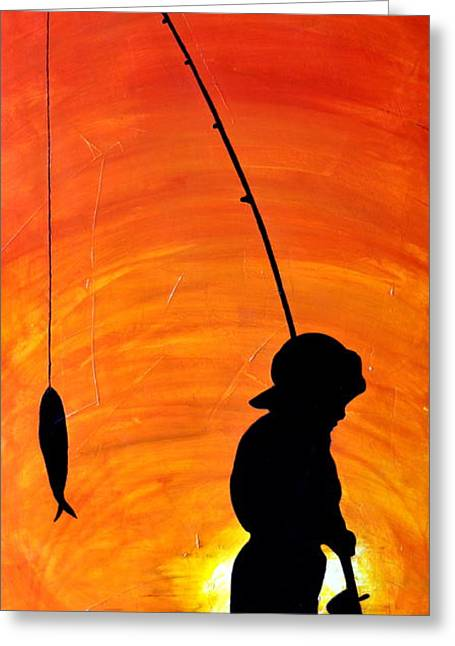 Naturalistic Mixed Media Greeting Cards - Gone Fishing Greeting Card by Ivan  Guaderrama