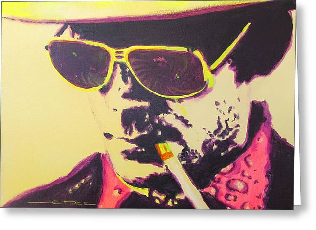 Las Vegas Drawings Greeting Cards - Gonzo - Hunter S. Thompson Greeting Card by Eric Dee