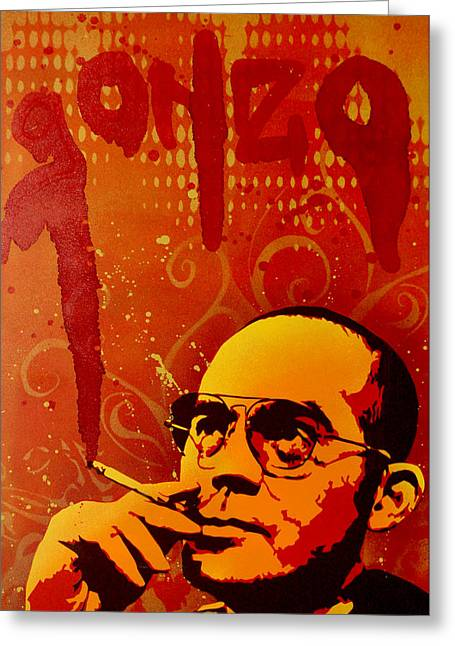 Spray Paint Art Greeting Cards - Gonzo - Hunter S. Thompson Greeting Card by Iosua Tai Taeoalii