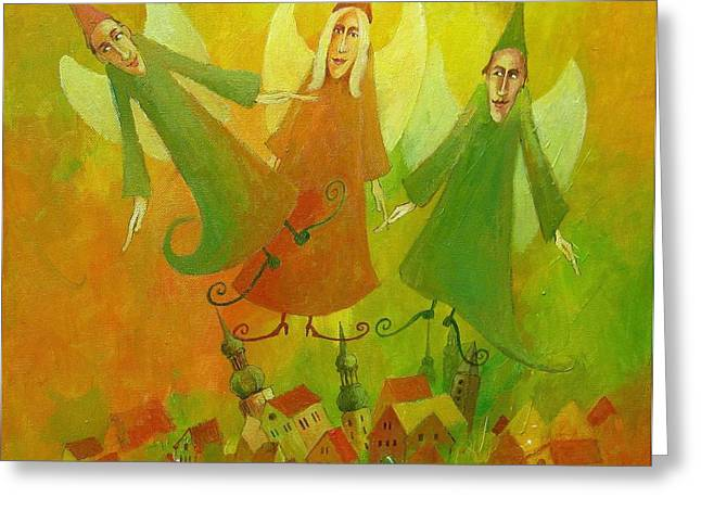 Woman In Summer Meadow Greeting Cards - Good Angels Greeting Card by Krzysztof Lozowski
