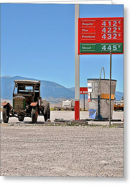 Gas Station Greeting Cards - Good bye Death Valley - The End of the Desert Greeting Card by Christine Till