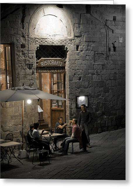 City Restaurants Greeting Cards - Good Food - Good Company Greeting Card by Carl Jackson
