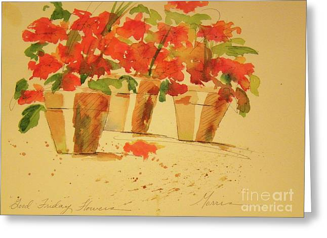 Red Geraniums Mixed Media Greeting Cards - Good Friday Flowers Greeting Card by Jill Morris
