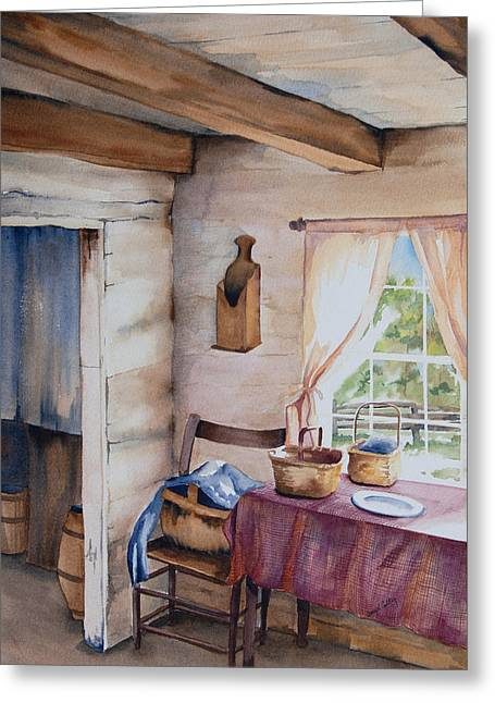 Log Cabin Interiors Greeting Cards - Good Morning Mr. Lincoln Greeting Card by Amy Caltry