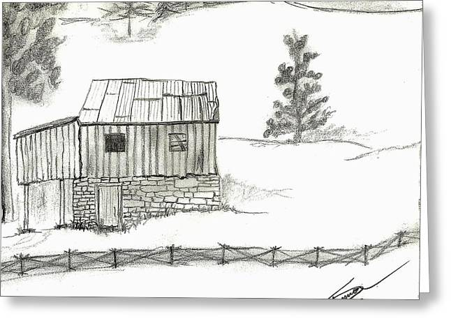 Old Barn Drawing Greeting Cards - Good Old Days Greeting Card by Shannon Harrington