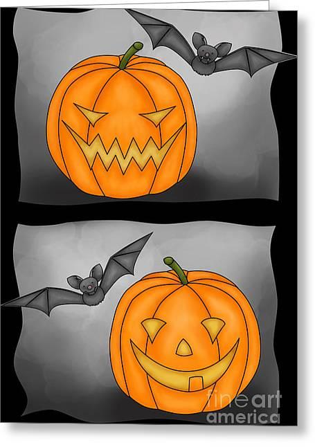 Bad Drawing Digital Art Greeting Cards - Good Pumpkin - Bad Pumpkin Greeting Card by Claudia Pflicke