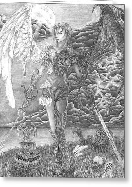 Thunderstorm Drawings Greeting Cards - Good vs. Evil Greeting Card by Daniela Stever