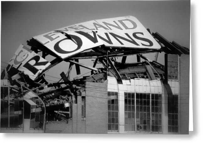 Footballs Greeting Cards - Goodbye Cleveland Stadium Greeting Card by Kenneth Krolikowski