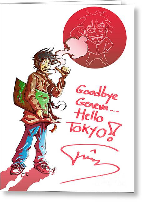 Japanimation Greeting Cards - Goodbye Greeting Card by Tuan HollaBack
