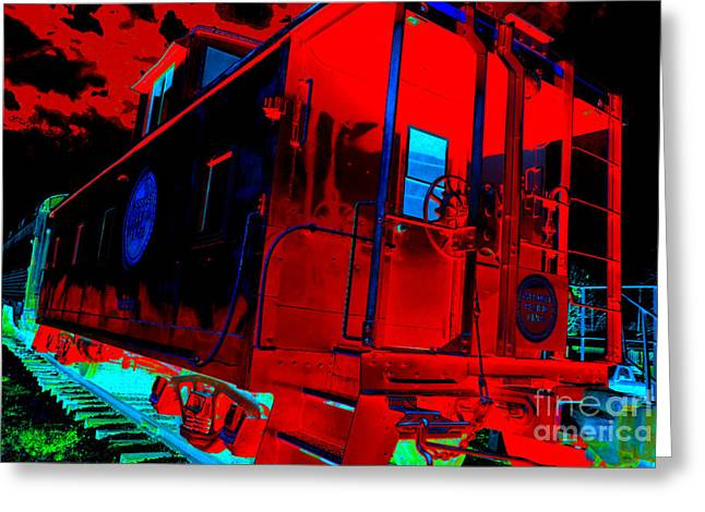Caboose Greeting Cards - Goodnight Caboose Greeting Card by Chuck Taylor