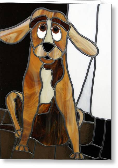 Surprise Glass Art Greeting Cards - Goofy Dog Greeting Card by Jane Croteau