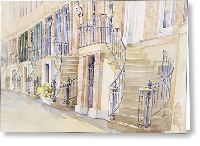 Bannister Paintings Greeting Cards - Gordon Row Greeting Card by Lynne Grant
