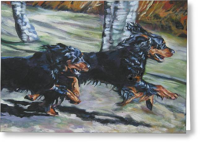 Gordon Setter Puppy Greeting Cards - gordon Setter Autumn run Greeting Card by Lee Ann Shepard