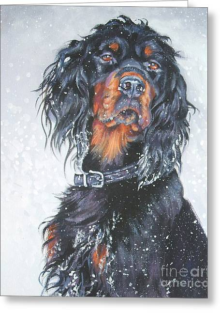 Gordon Setter Puppy Greeting Cards - Gordon Setter in snow Greeting Card by Lee Ann Shepard