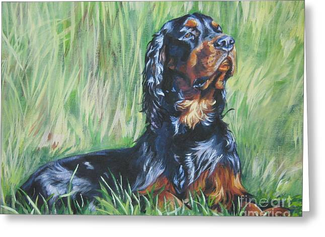 Gordon Setter Puppy Greeting Cards - Gordon Setter in the Grass Greeting Card by L A Shepard