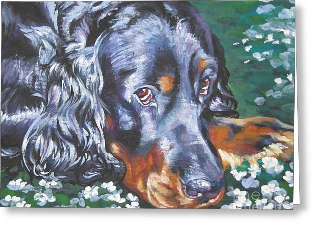 Gordon Setter Puppy Greeting Cards - Gordon Setter in wildflowers Greeting Card by Lee Ann Shepard