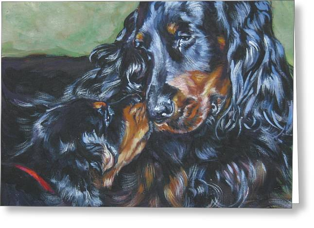 Gordon Setter Puppy Greeting Cards - Gordon Setter Mom and pup Greeting Card by Lee Ann Shepard