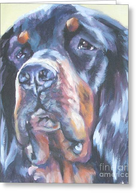 Gordon Setter Puppy Greeting Cards - Gordon Setter Portrait Greeting Card by Lee Ann Shepard