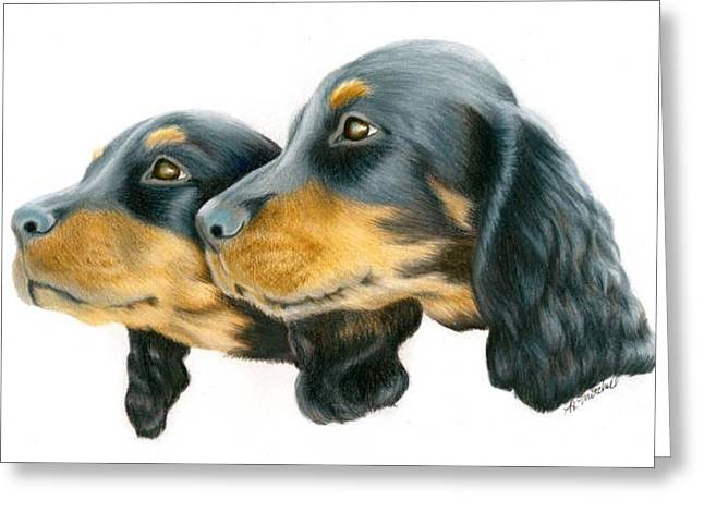 Gordon Setter Puppy Greeting Cards - Gordon Setter Pups Greeting Card by Heather Mitchell