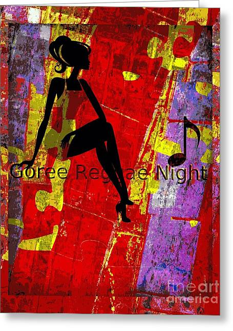 Dread Locks Greeting Cards - Goree Reggae Night Greeting Card by Fania Simon