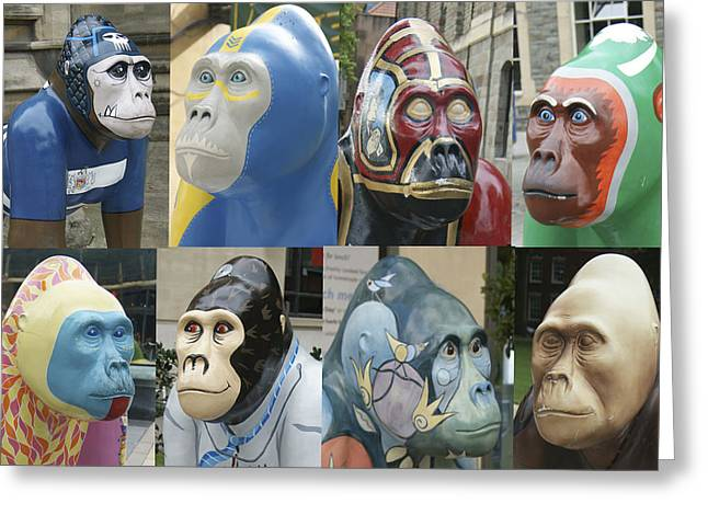 David Birchall Greeting Cards - Gorillas In The Street Greeting Card by David Birchall