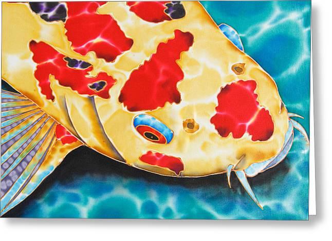 Fish Tapestries - Textiles Greeting Cards - Goshiki Koi Greeting Card by Daniel Jean-Baptiste